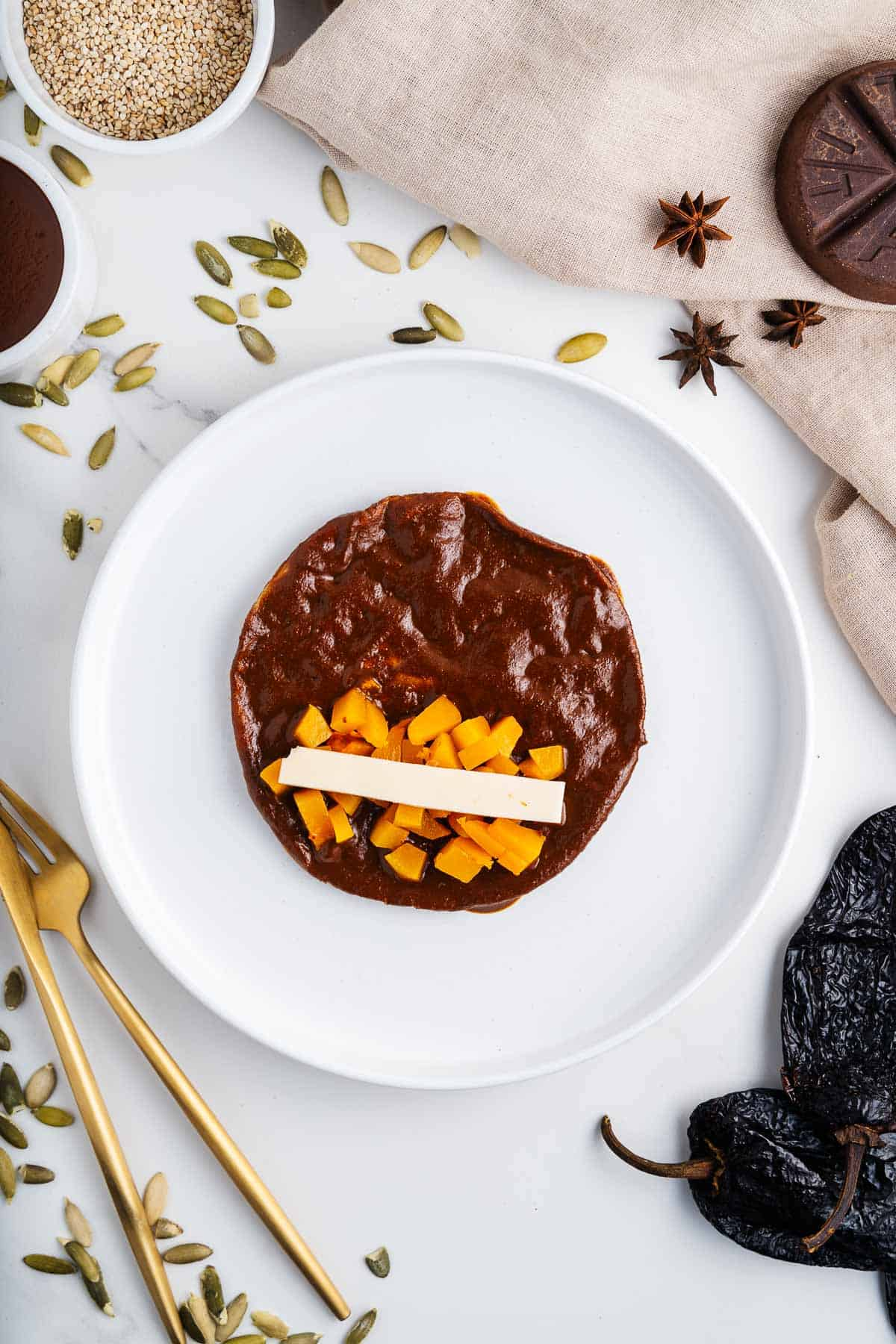 Tortilla Dipped in Mole with Squash and Vegan Cheese Inside