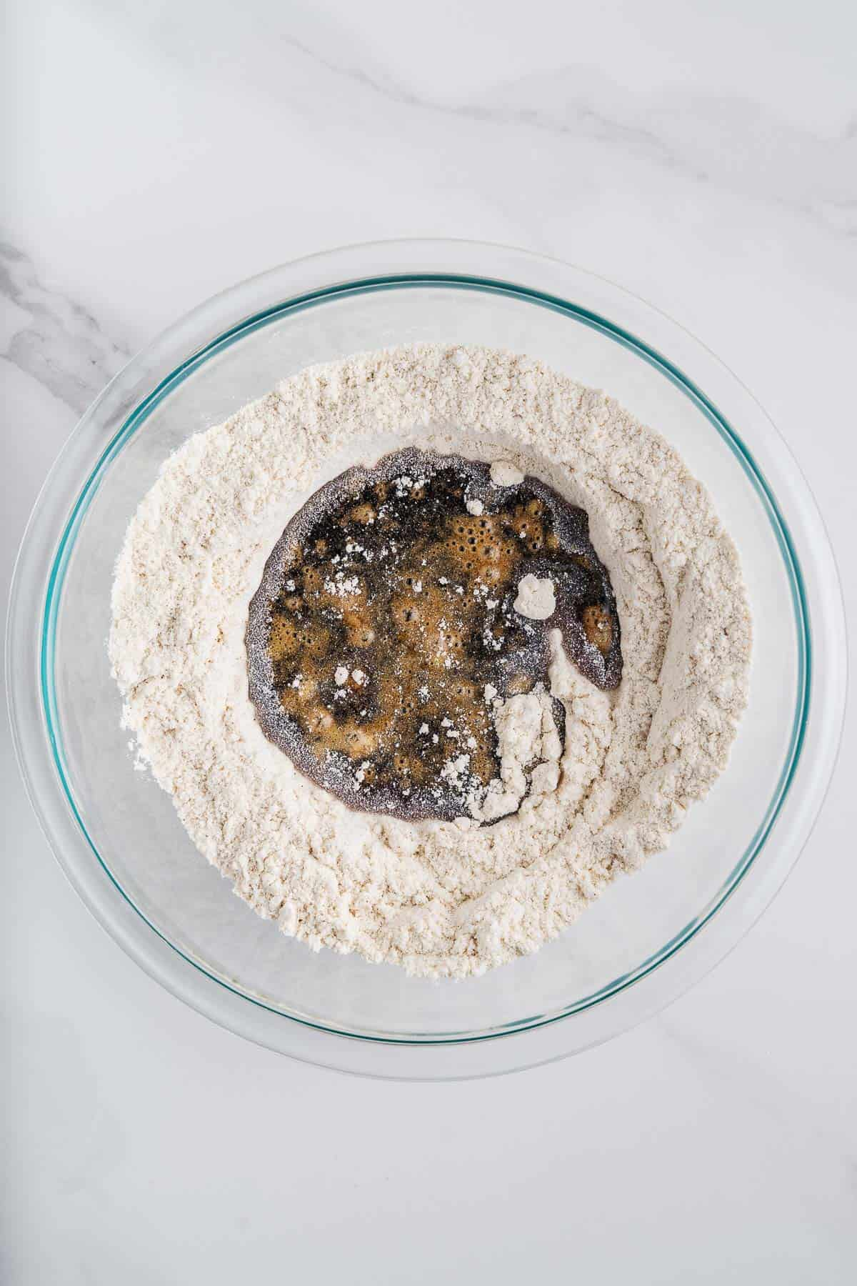 Flour and Piloncillo Syrup in a Bowl