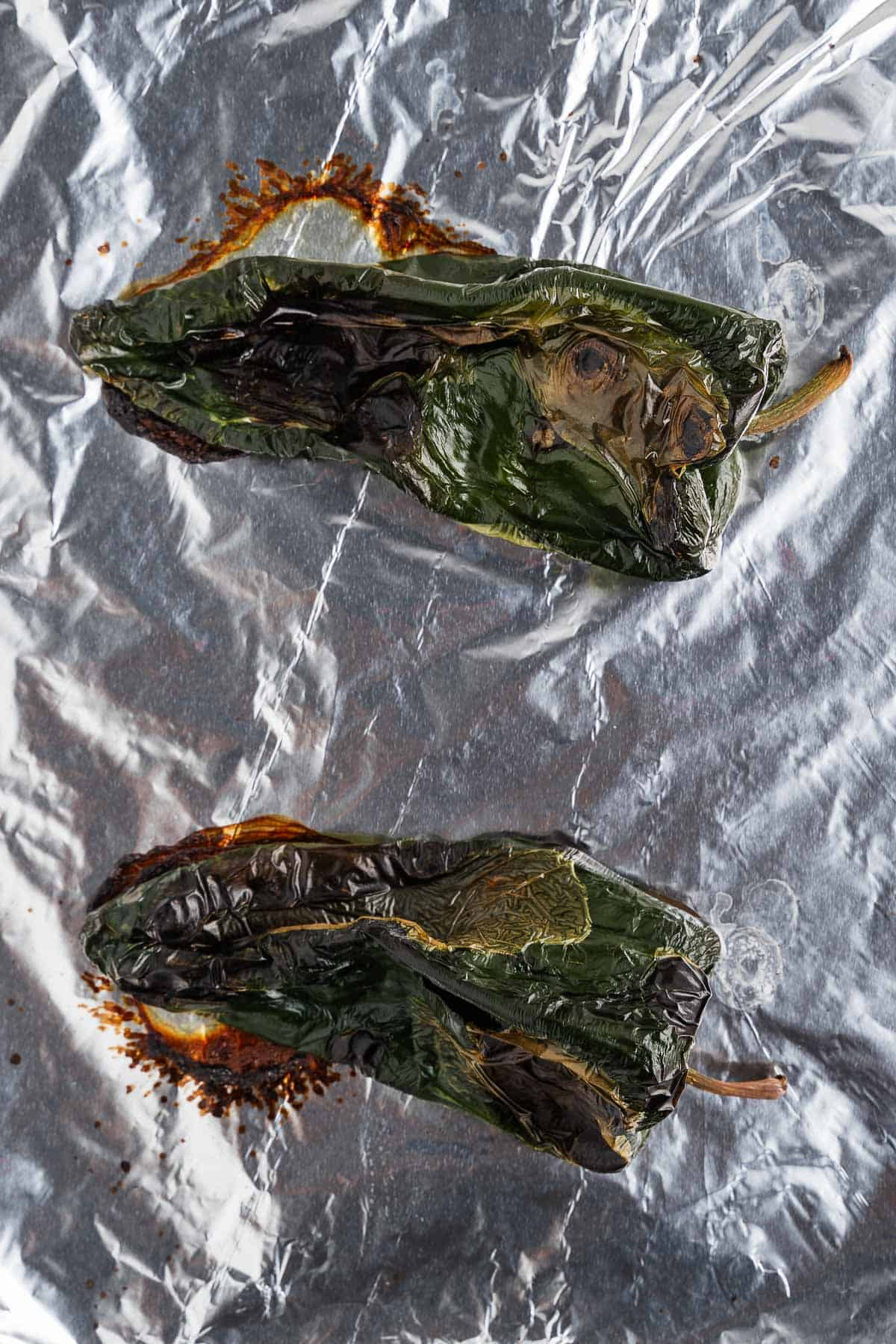 Roasted Poblano Peppers on Foil