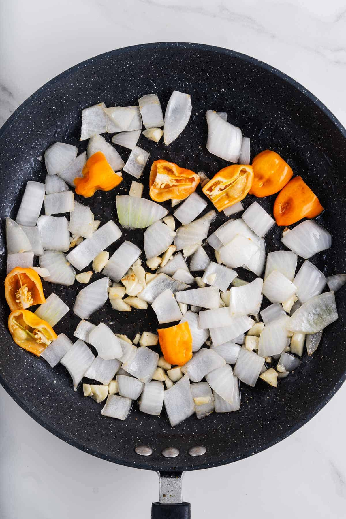 Onions, Garlic, and Habaneros in a Pan