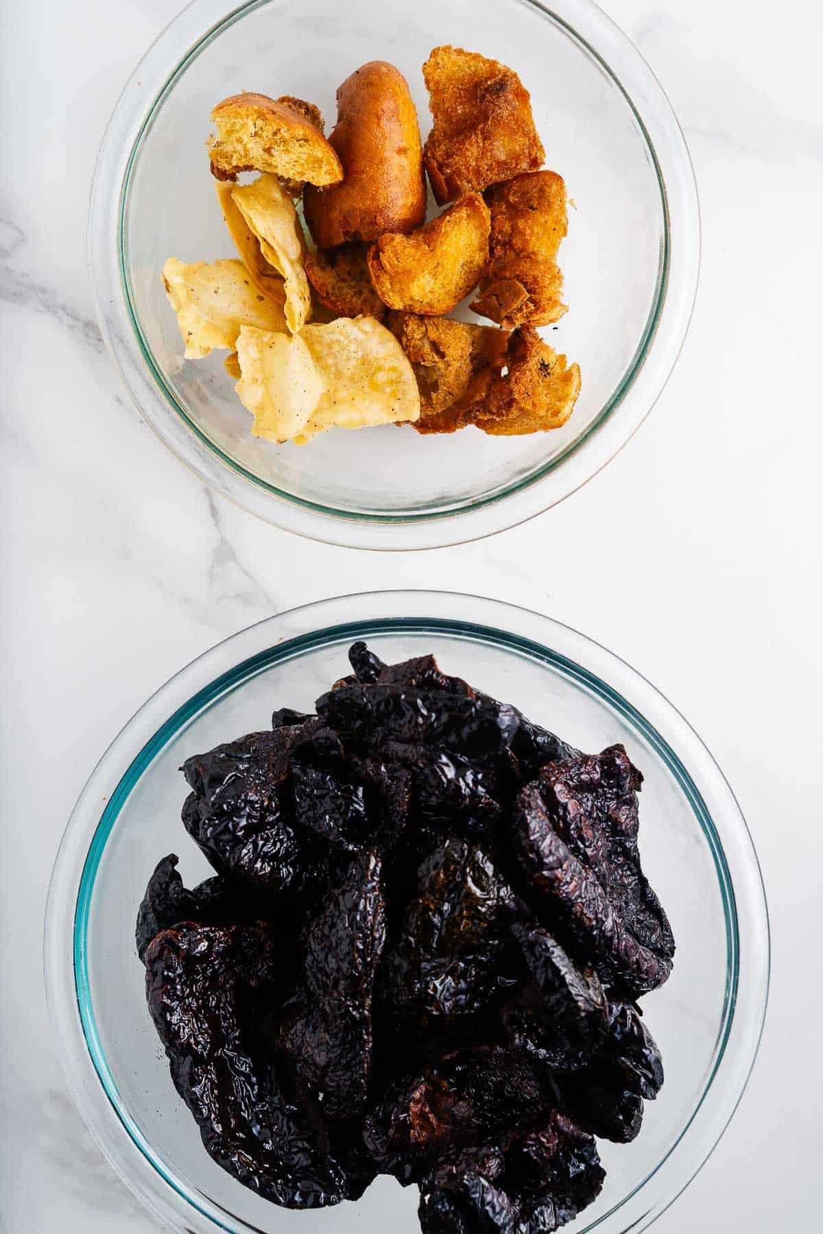 Fried Chiles, Corn Tortillas, and Bread