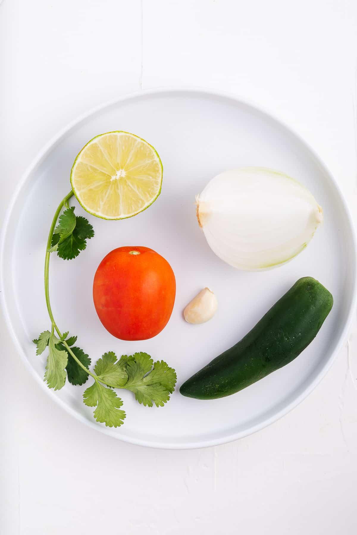 Lime, Cilantro, Onion, Garlic, Tomato, and Jalapeno