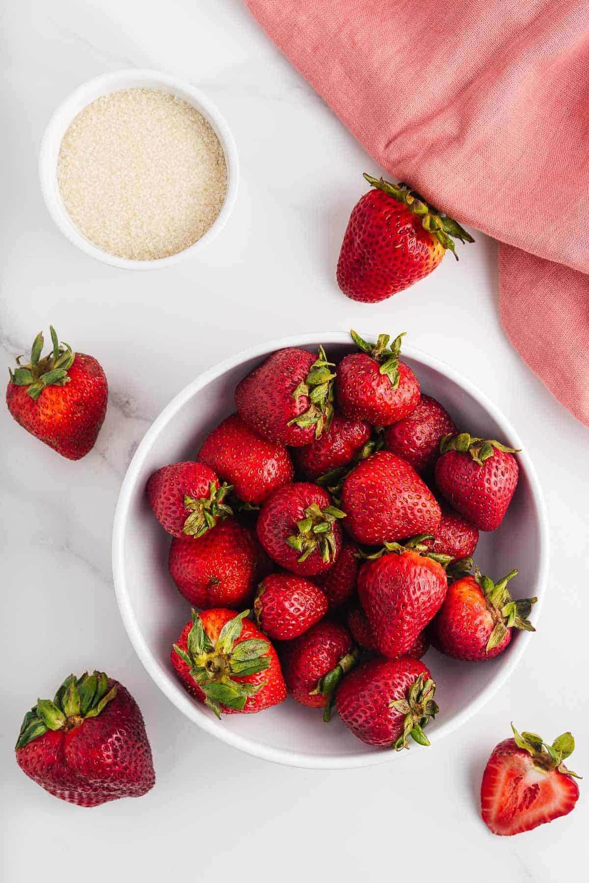 Cane Sugar and Strawberries in a Bowl