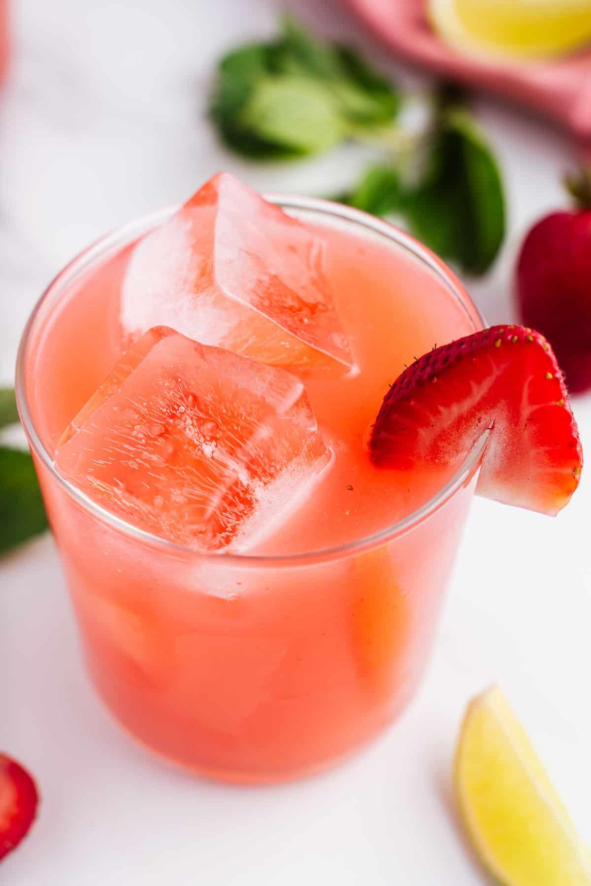Agua de Fresa in a Glass