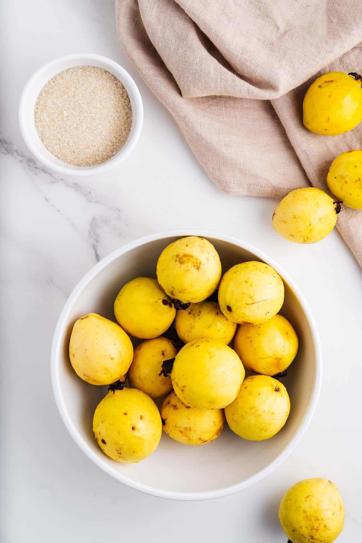 Guavas and Cane Sugar in Bowls