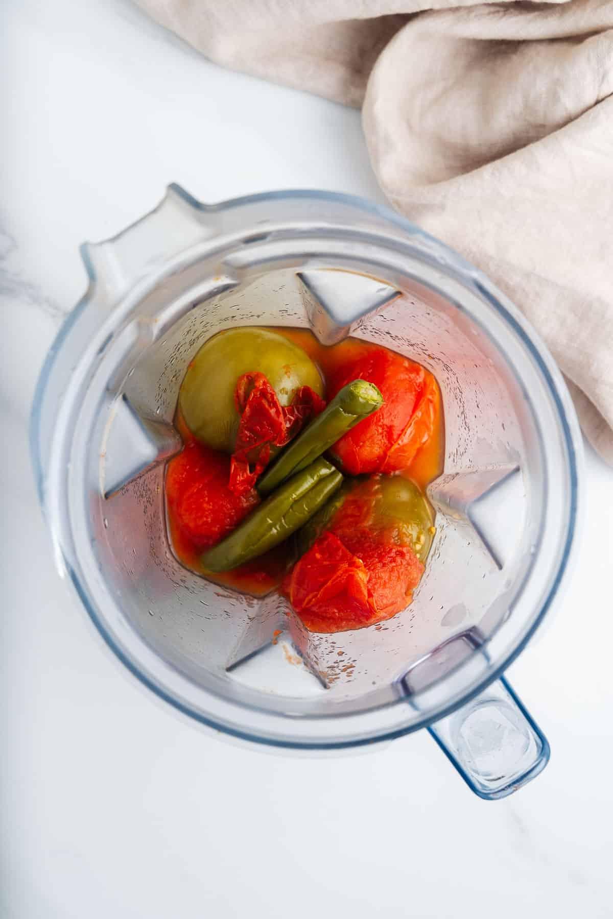 Cooked Vegetables in a Blender