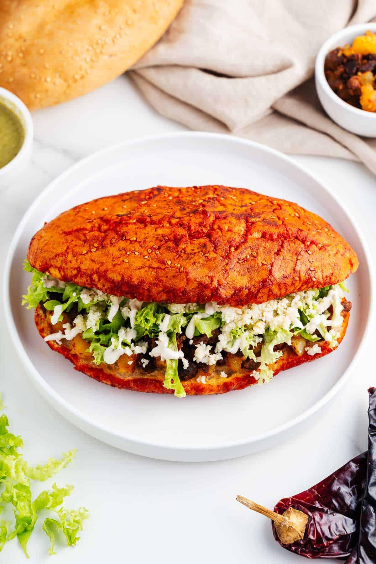 Vegan Pambazos Sandwich on a Plate