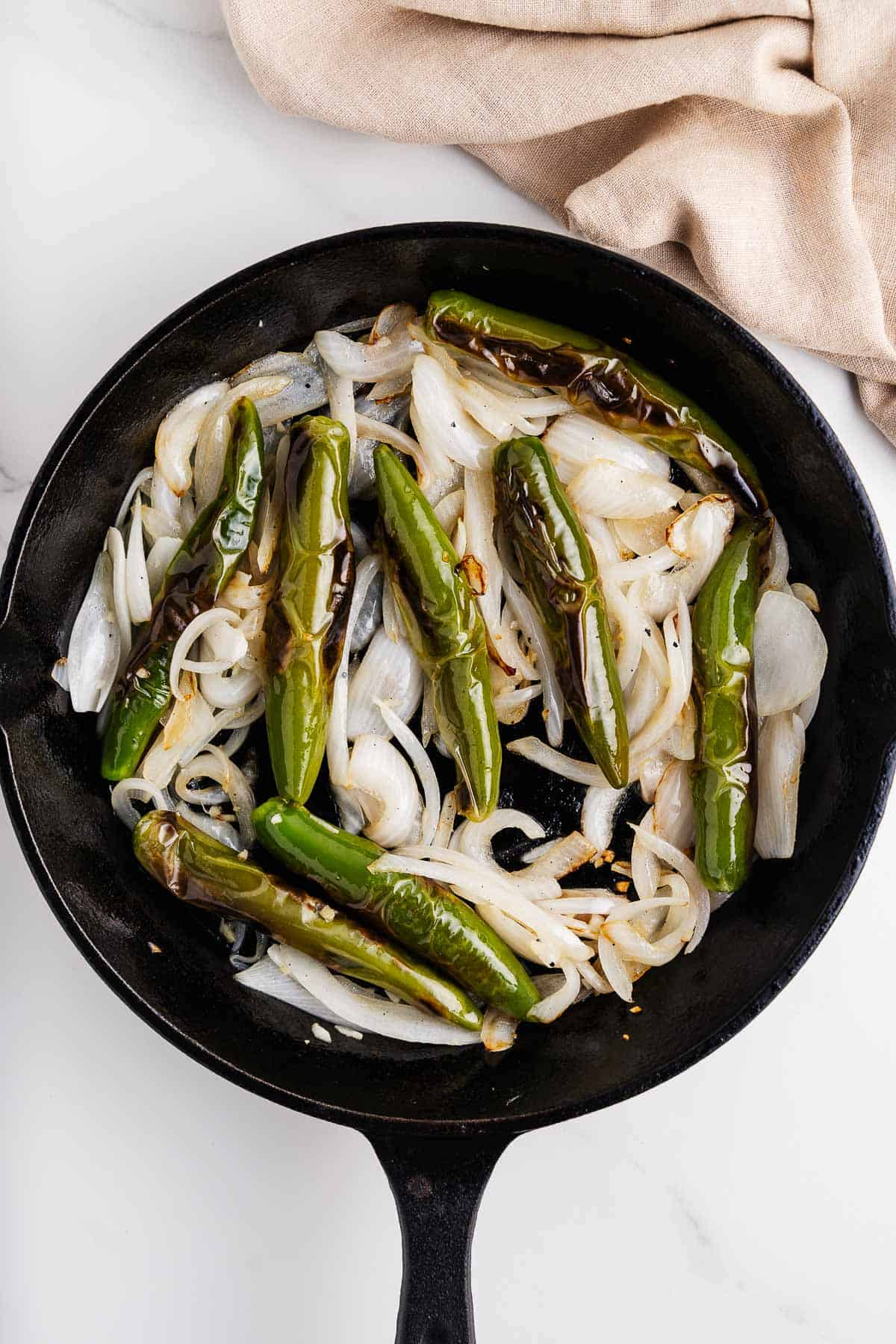 Chiles, Onions, and Garlic in a Skillet