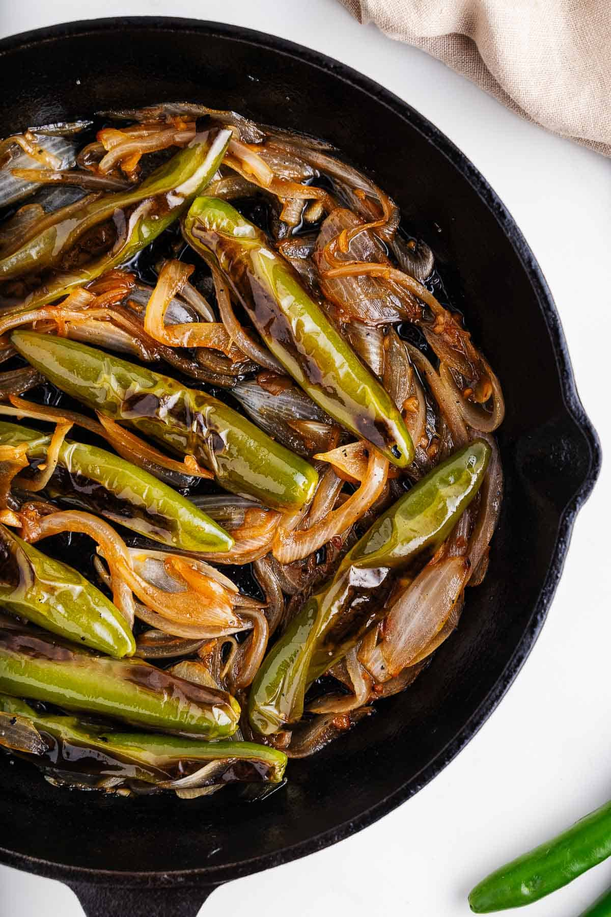 Chiles toreados in a Skillet