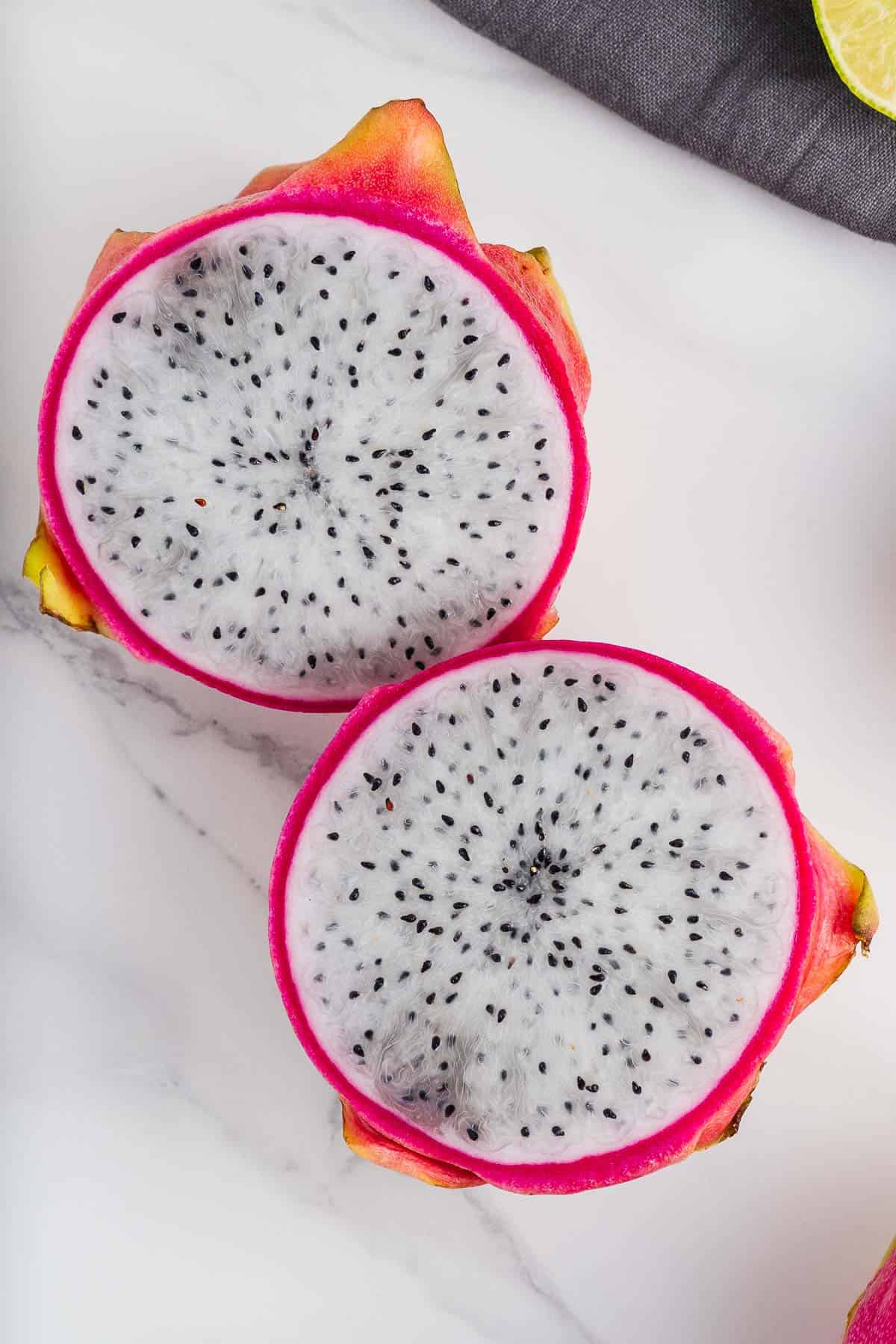Pitahaya Fruit Cut in Half
