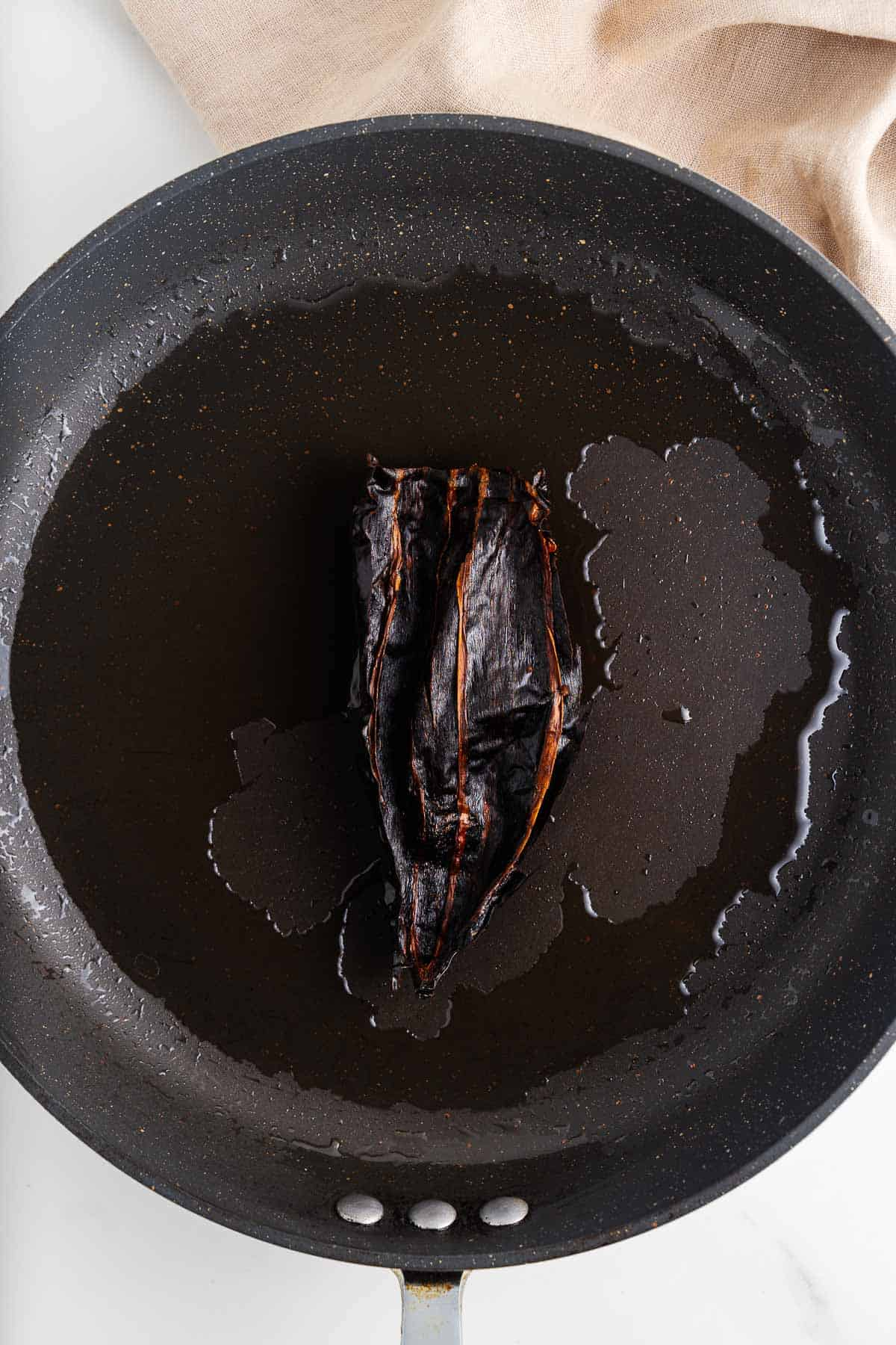 Pasilla Chile in a Skillet With Oil