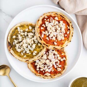 Three Vegan Picaditas on a Plate