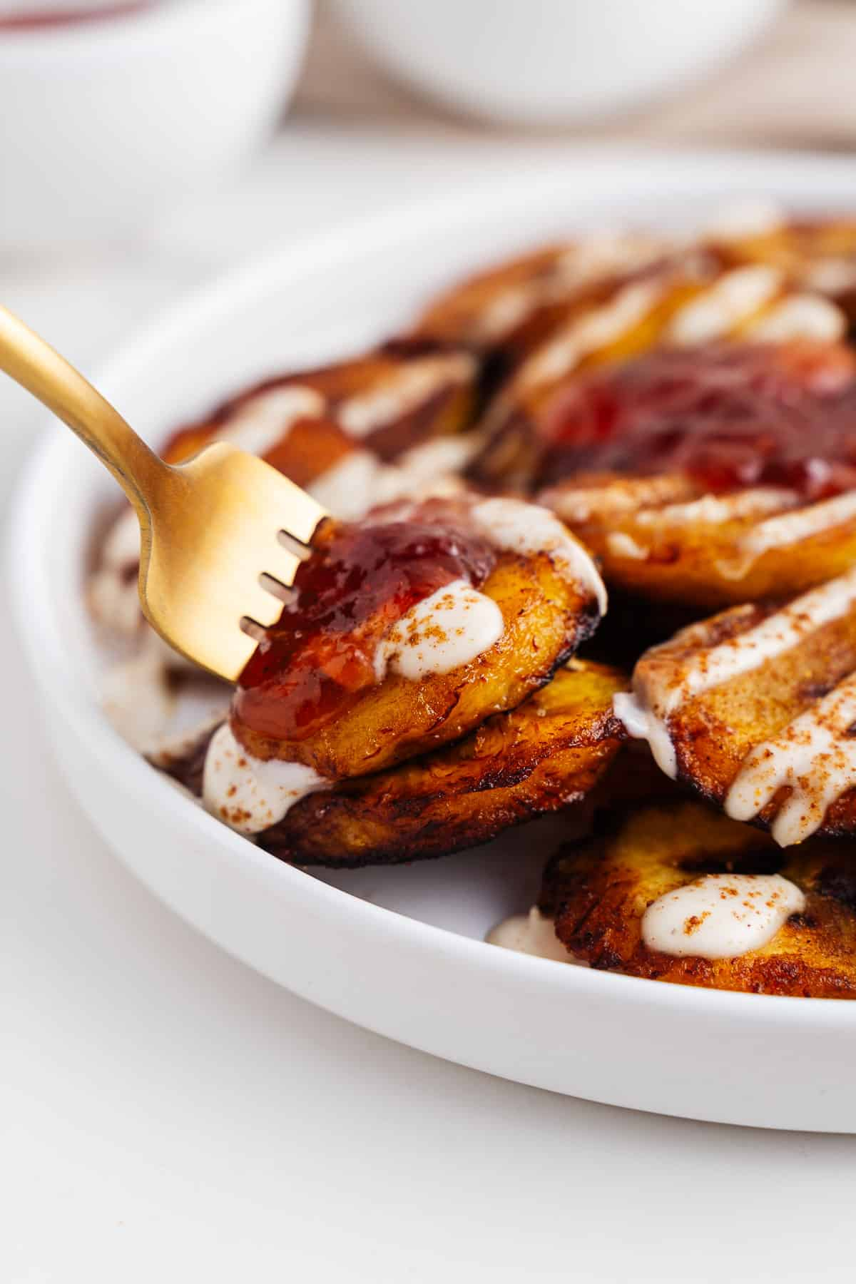 Forkful of Sweet Platanos Fritos