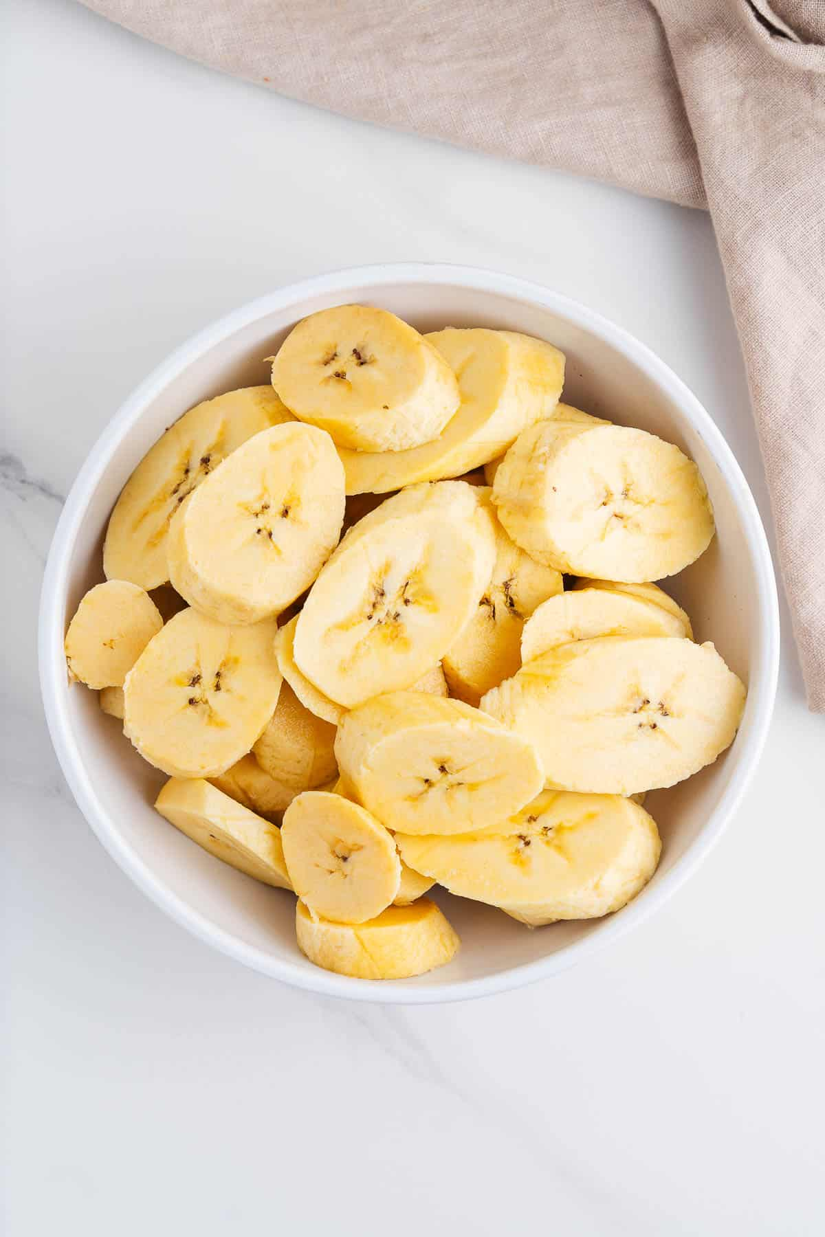 Sliced Plantains in a Bowl