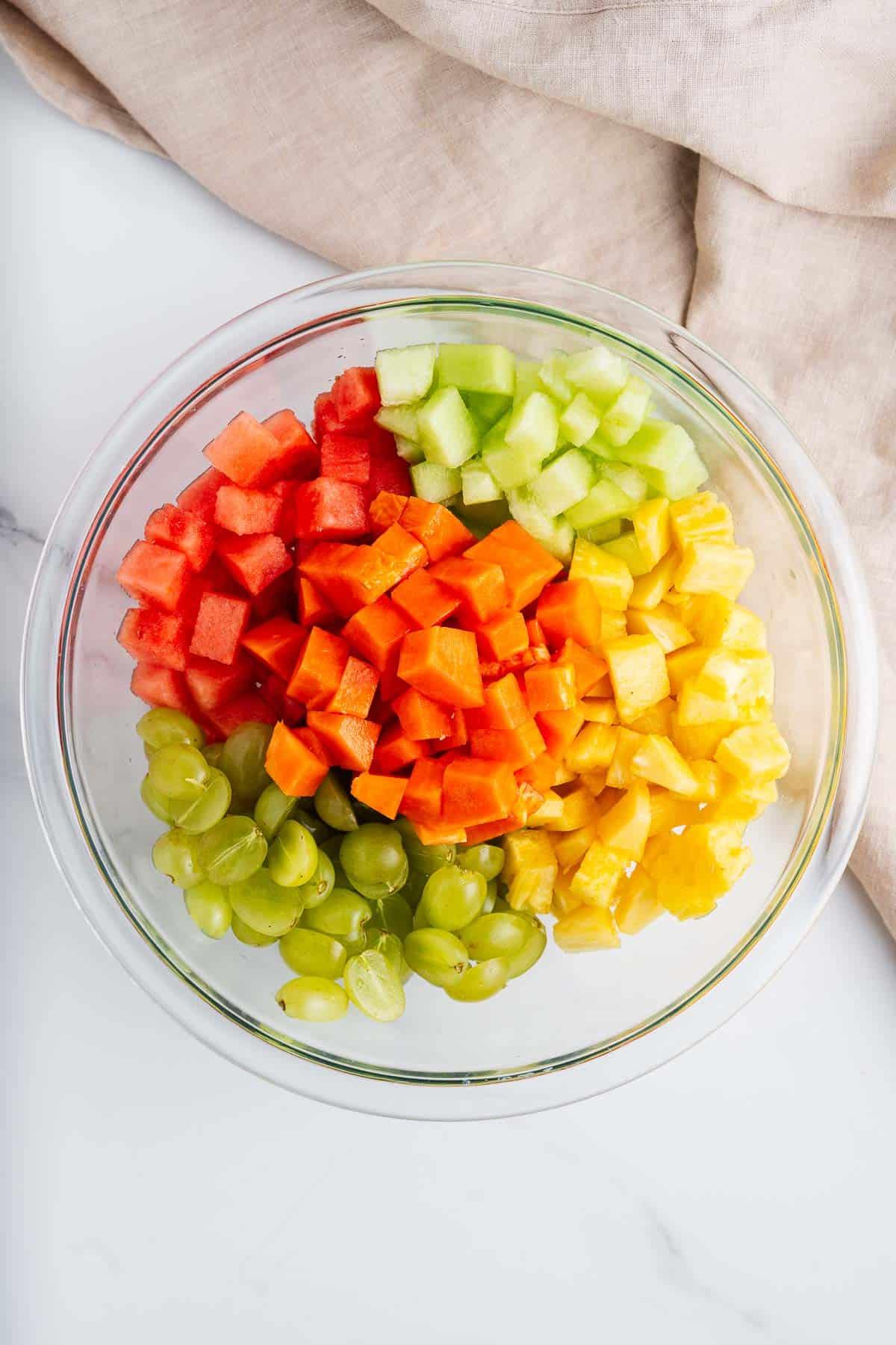 Chopped Fruit in a Mixing Bowl