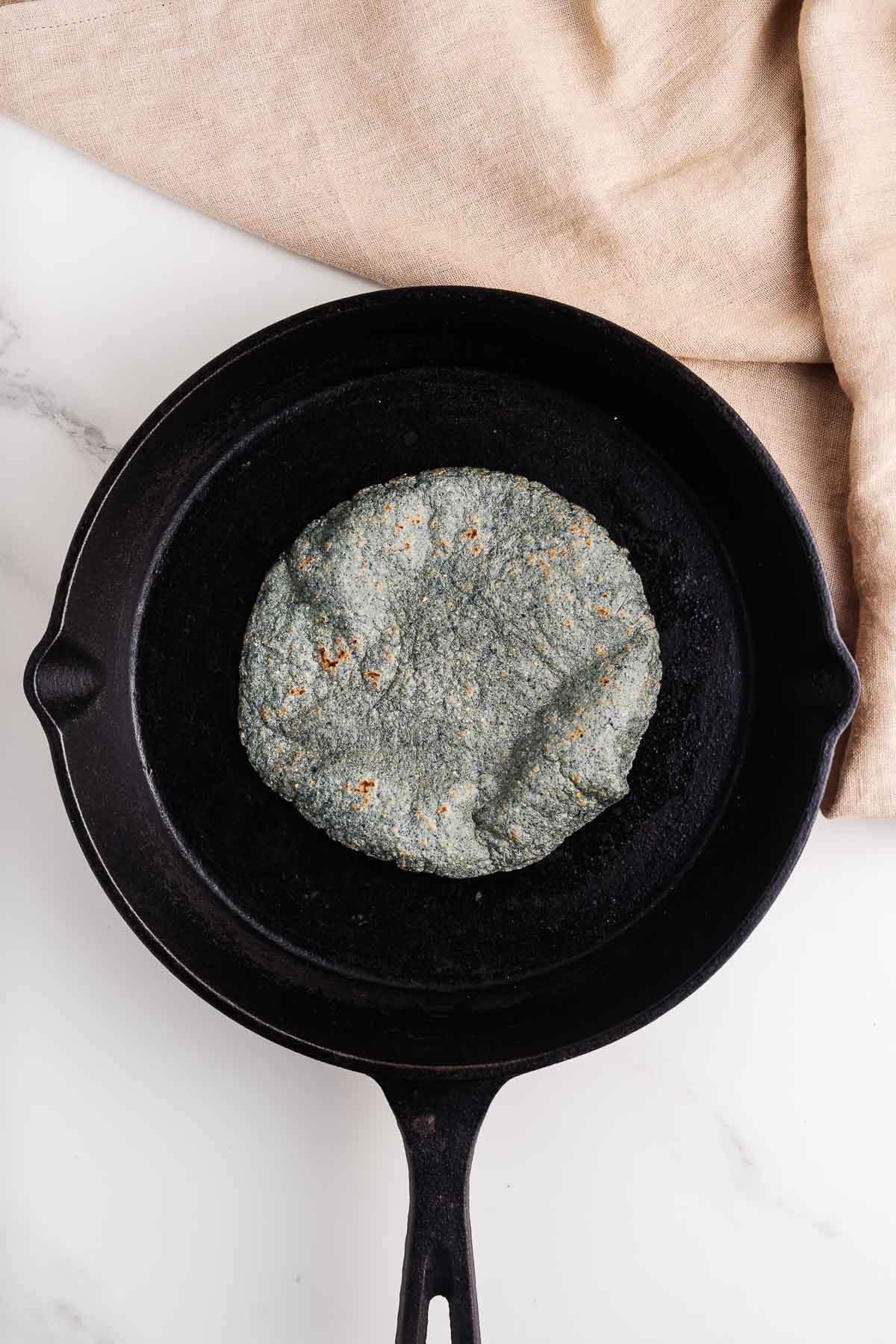 Blue Corn Tortilla in a Skillet