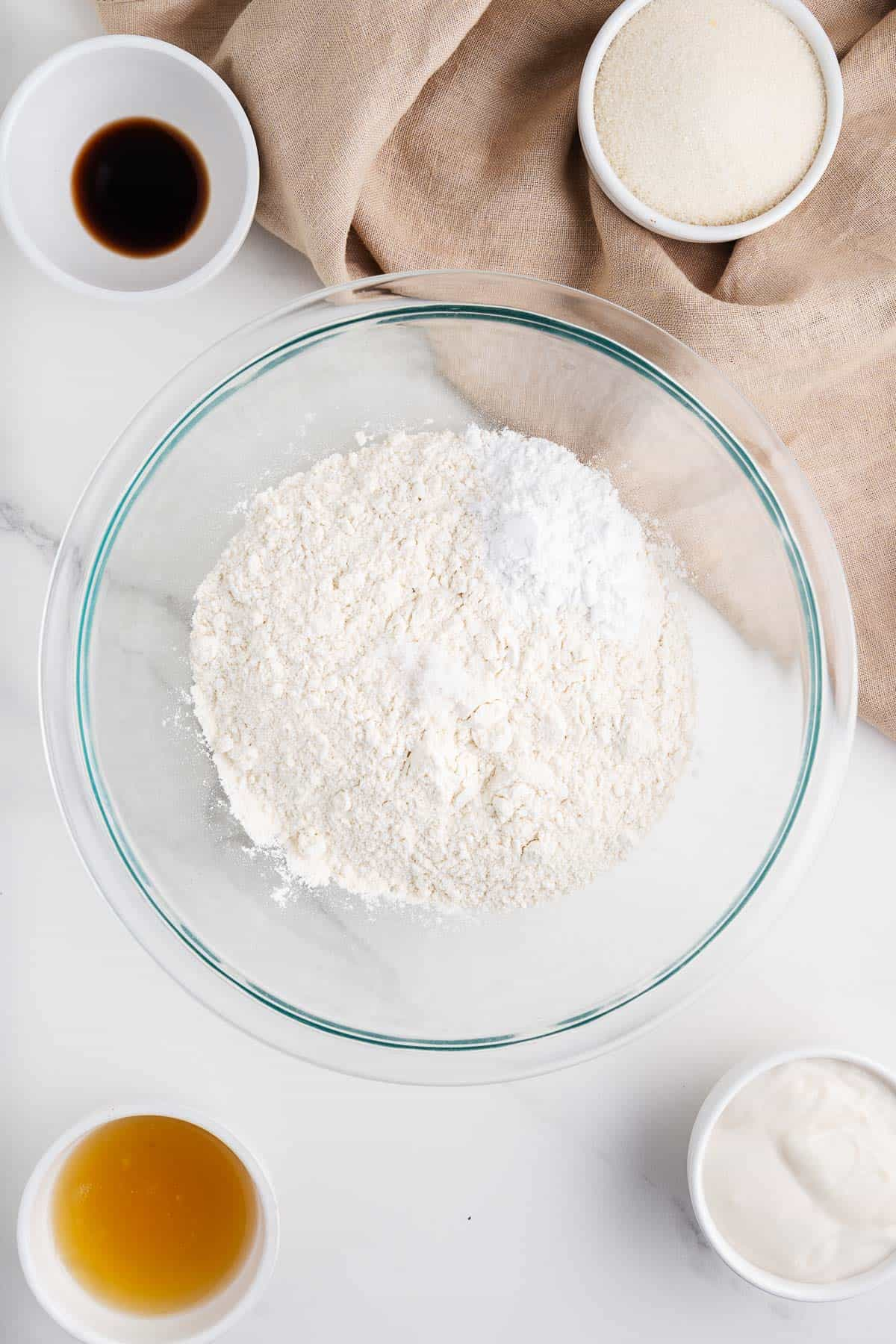 Flour, Baking Powder, Aquafaba, Sugar, Vanilla, and Vegan Nata