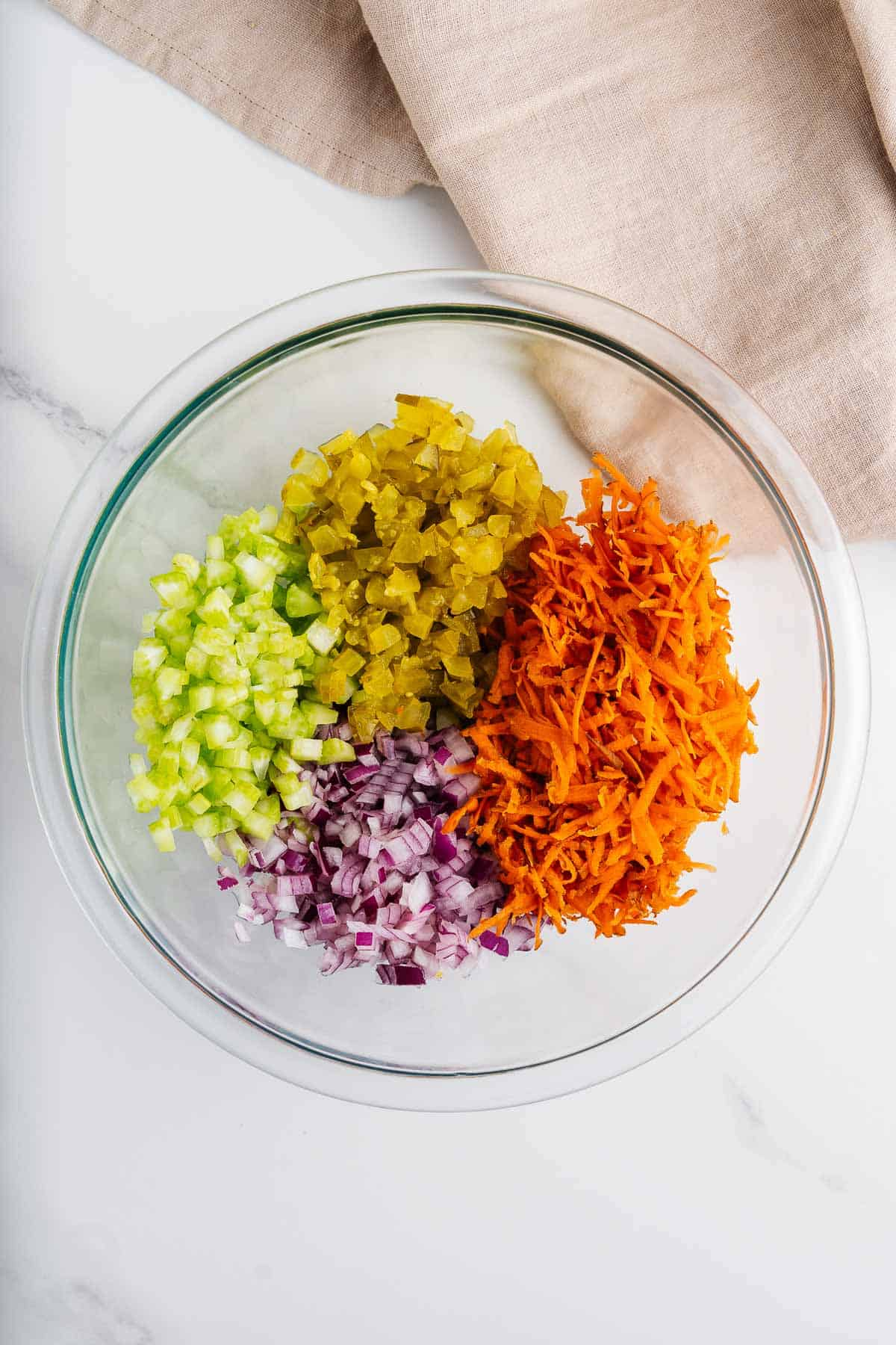 Chopped Pickles, Celery, Carrots, and Onions in a Bowl