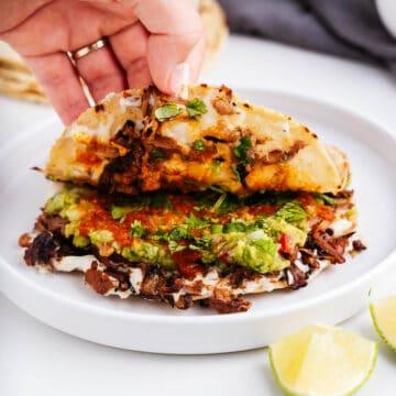 Hand Holding Open a Vegan Mulita de Carnitas