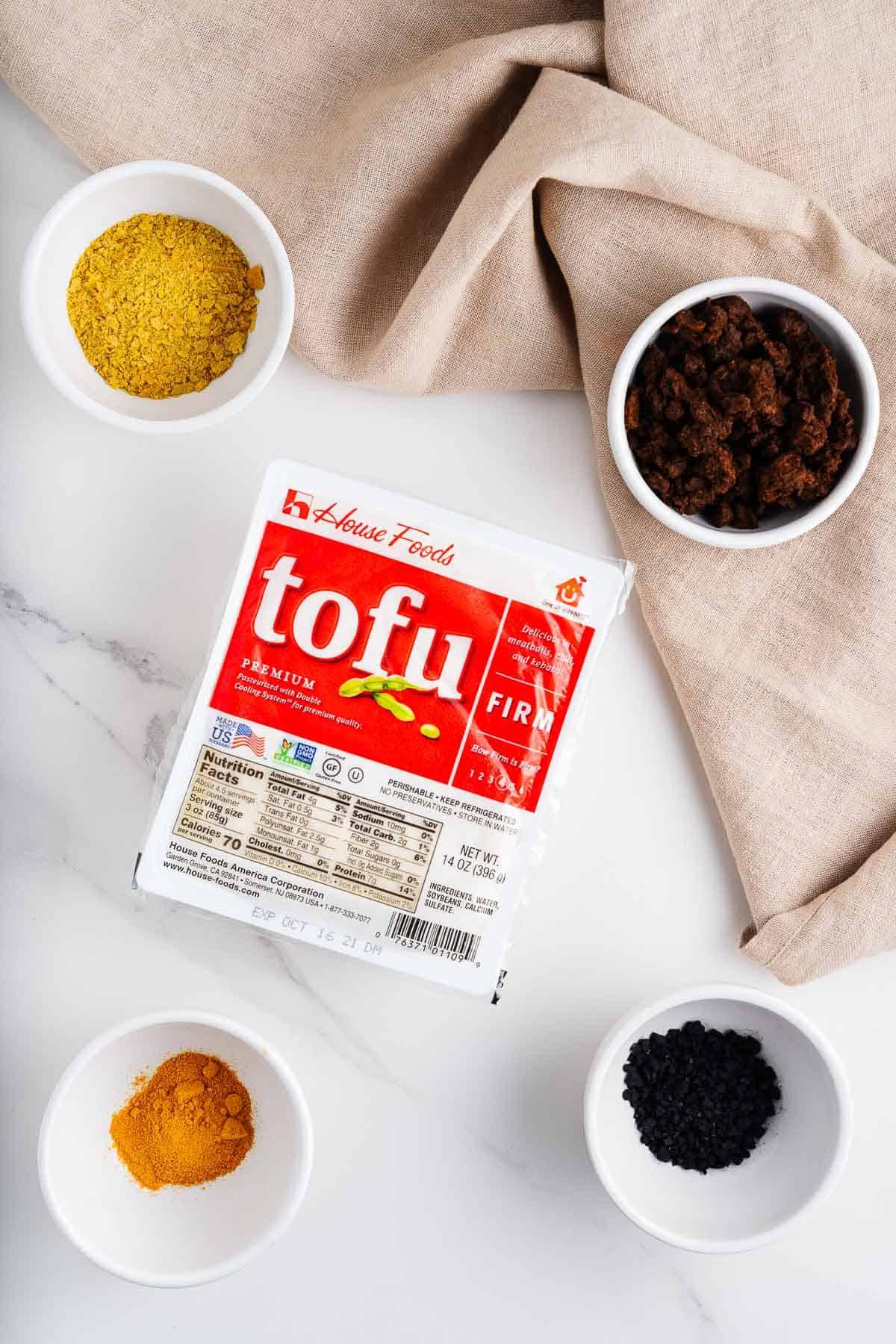 Tofu, Nutritional Yeast, Turmeric, Black Salt, and Chorizo