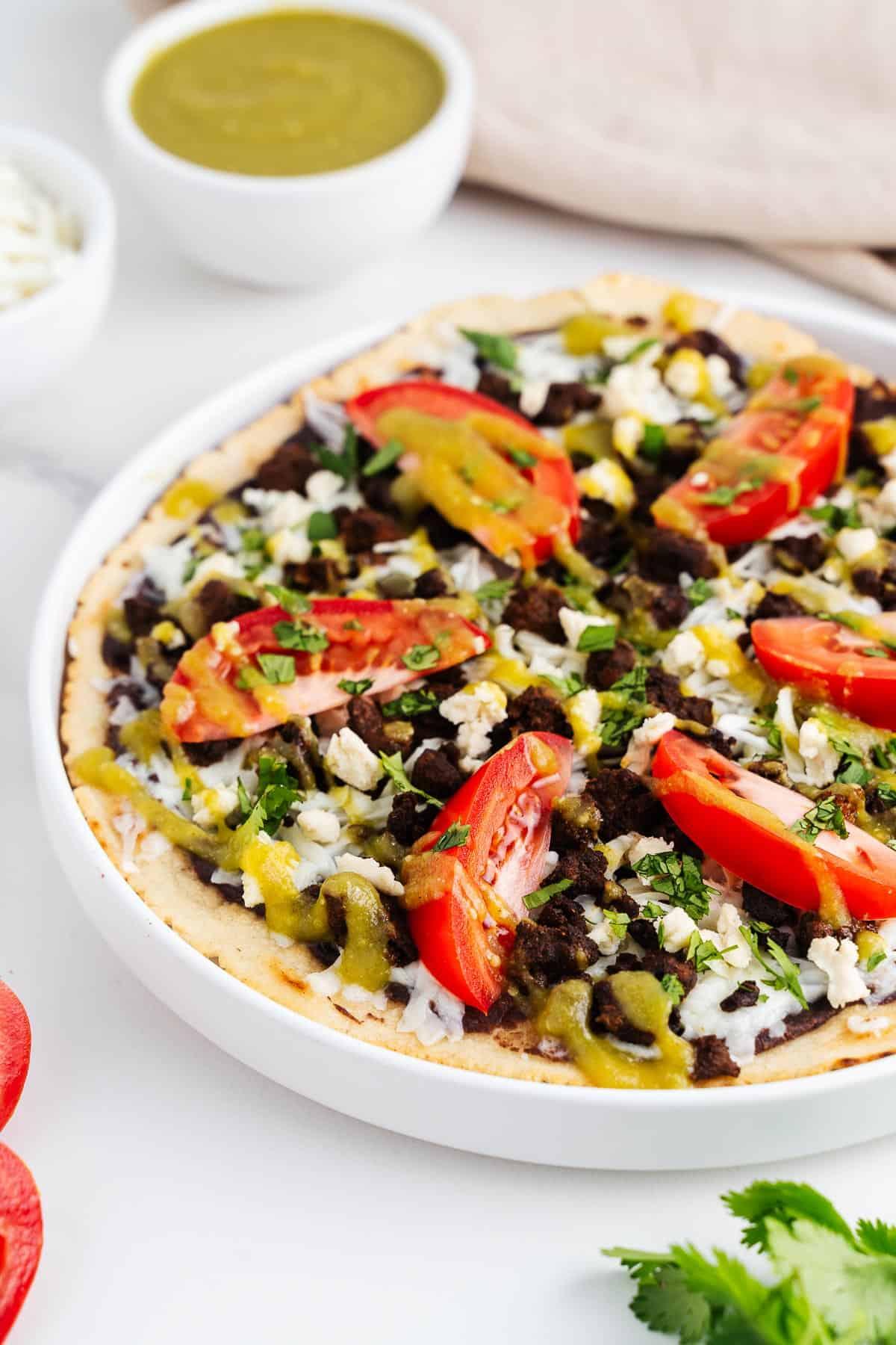 Vegan Tlayudas on a Plate